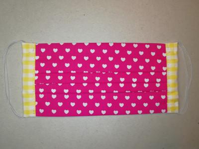 Behelfsmaske Herzchen pink-weiß