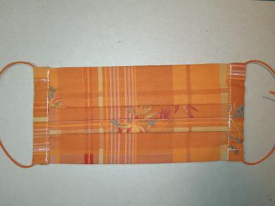 Behelfsmaske orange Karos mit Blumen