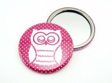 Taschenspiegel Eule pink