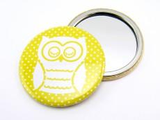 Taschenspiegel Eule gelb