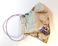 Behelfsmaske Typ2 - Motiv Blumen beige - helllila